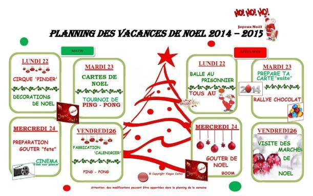 PLANNING DES VACANCES DE NOEL 2014 1er semaine